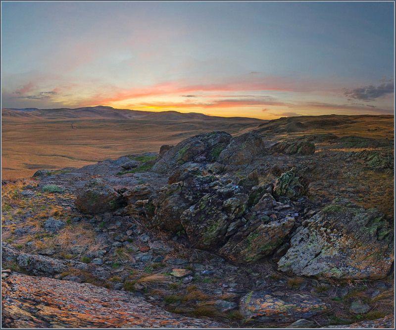закат, рассвет, пейзаж Закат на Аркаимеphoto preview