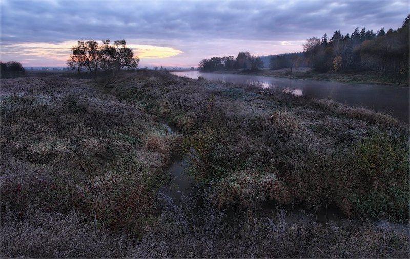 река, утро, иней первые заморозкиphoto preview