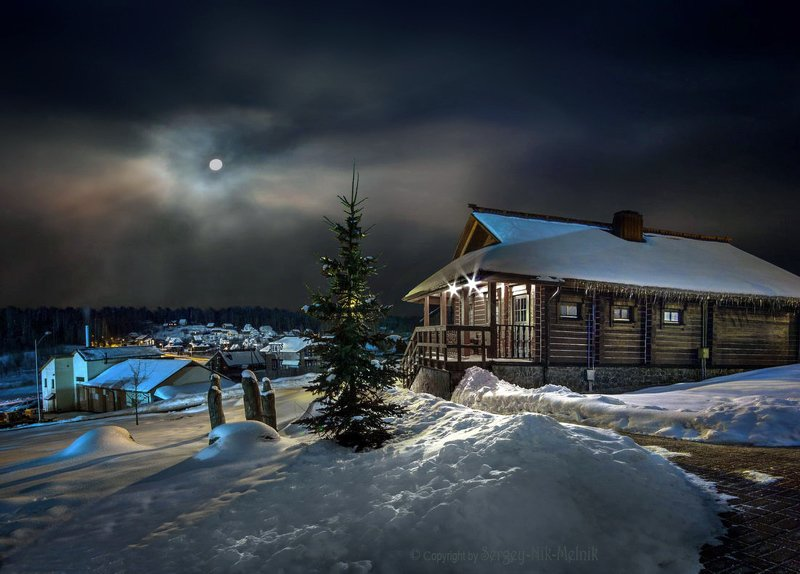 беларусь, звезды, зима, луна, мороз, ночь, снег, дудутки Домик деда морозаphoto preview