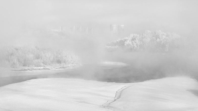 пейзаж, природа, чб, черно-белое, белый, светлый, зима, мороз, холод, лед, река, туман, иней, снег, город, красноярск, татышев, енисей, сибирь Застыло время в зимнем туманеphoto preview