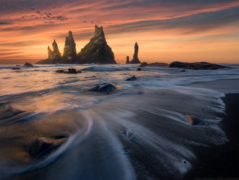 landscape, nature, travel, iceland, sea, water, wave, mountain, sunrise, sky Baptism of Vikphoto preview