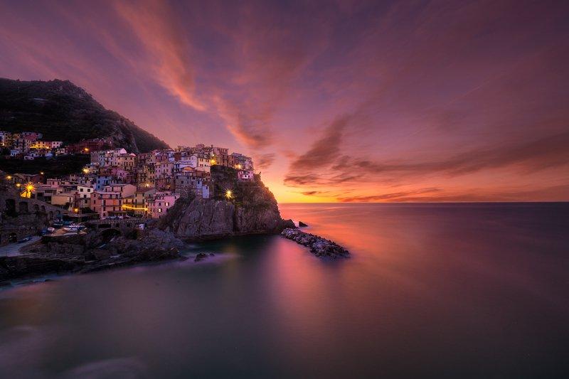 italy,sunrise,riomaggiore,long exposure,amazing color,town,rocks,seascape, first lightphoto preview