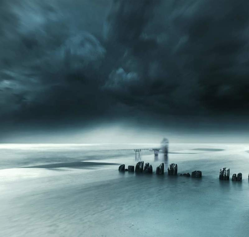 Sea, long exposure, water, clouds, sky, fisherman *photo preview
