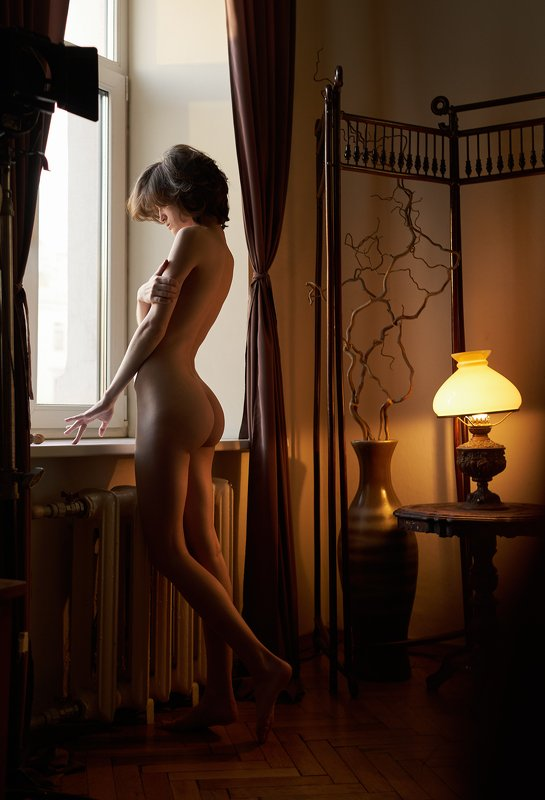 girl, nude, naked, at home, natural light, lamp, antique, window, worm, body, saint-petersburg, Dphoto preview