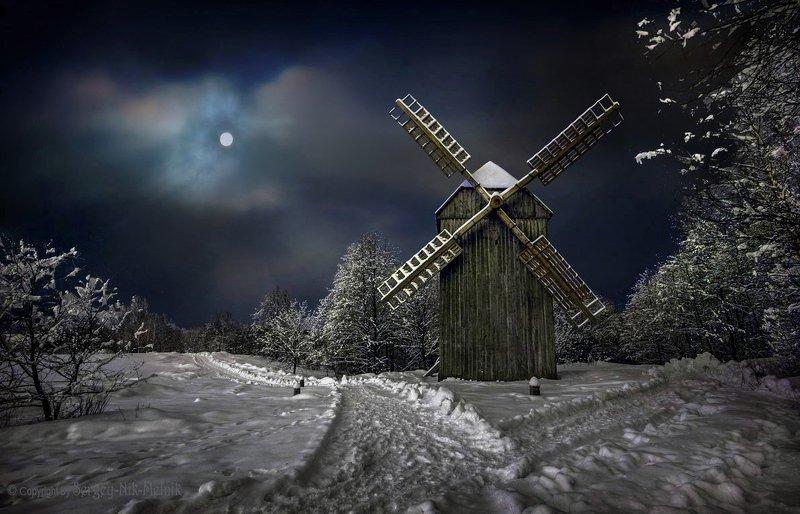 беларусь, звезды, зима, луна, мороз, ночь, снег, озерцо, логойск, дудутки, вечера-на-хуторе, фотограф-интерьеров-в-минске Melnik ночью забрел на мельницу :)photo preview