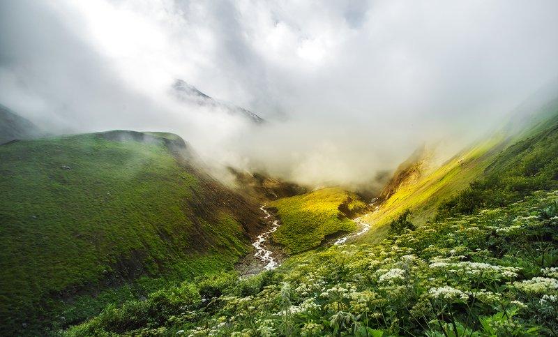 Северная Осетия, Горы, Осетия, Кавказ, река, горная река, пейзаж, облака Северная Осетияphoto preview