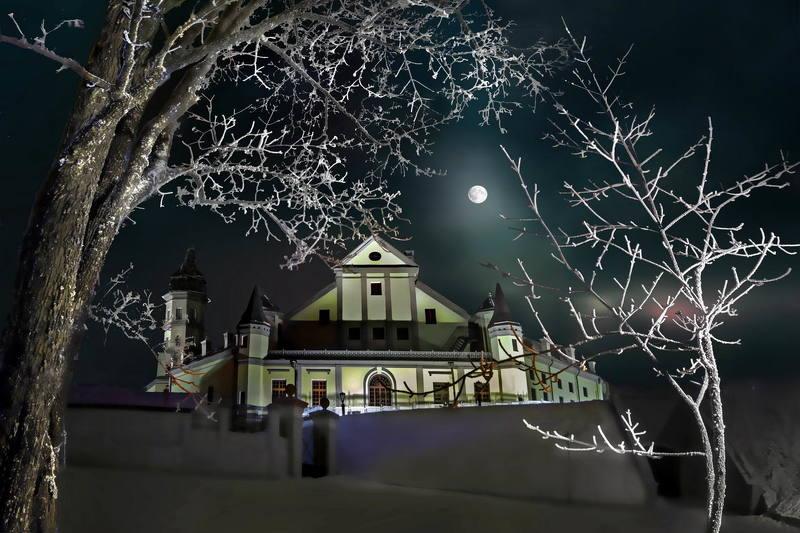 беларусь, несвиж, замок, радзивиллы Лунное сияние над замком Радзивиллов в Несвижеphoto preview