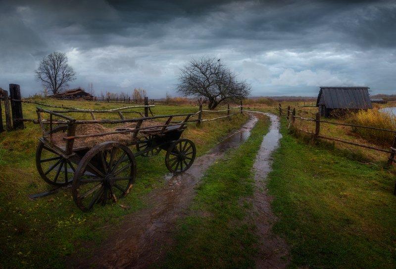 осень, дорога, телега, дождь, россия, непогода, деревня, Время печалиphoto preview