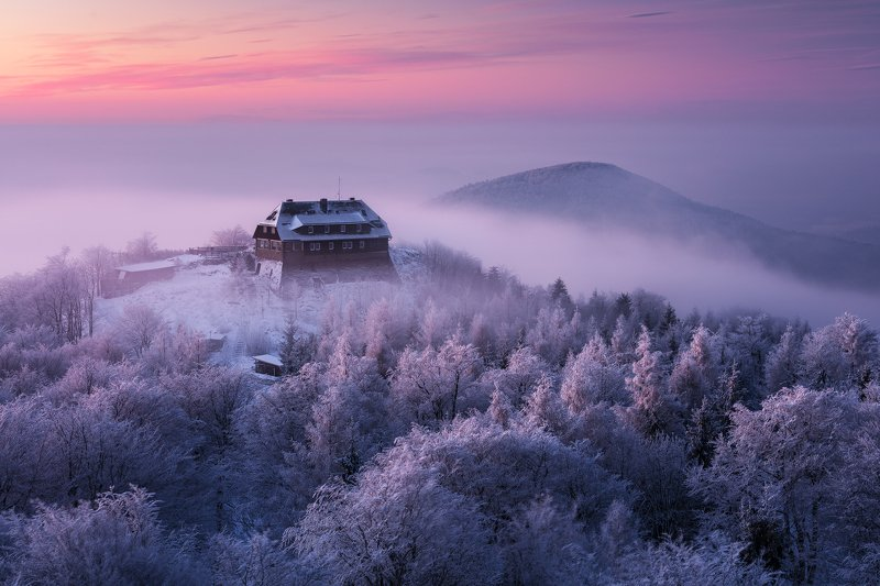 lusatian mountains, czech republic, winter, snow, twilight, morning, dawn, hut, beautiful Lusatian Winter Kingdomphoto preview