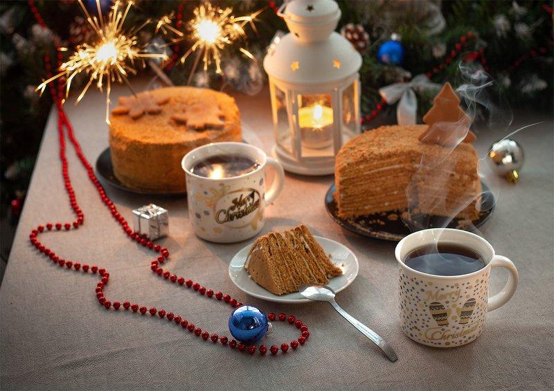 натюрморт, чай, торт, огонь, рождество, праздник, пар Рождественские сладости...photo preview