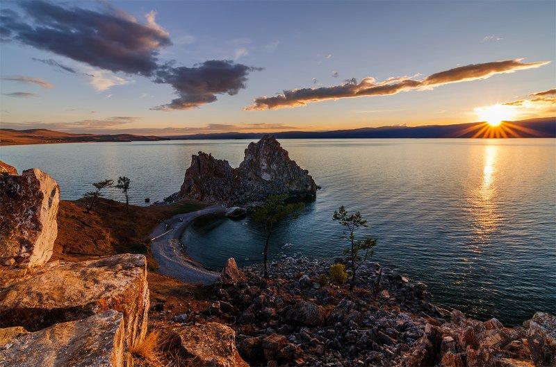 природа, пейзаж, сибирь, закат, лето, озеро, байкал, закат -photo preview