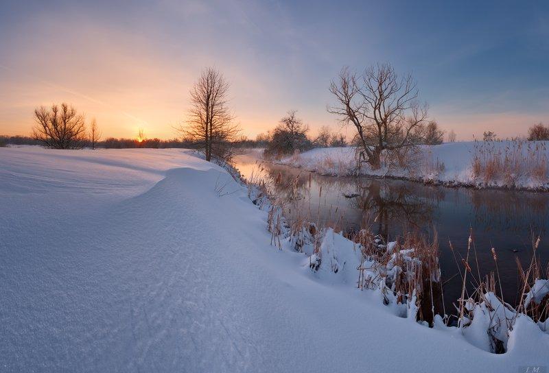 зима, утро, снег, мороз, пейзаж, речка, рассвет, морозное утро, winter, landscape, small, river, cold, colors, dawn, sunrise, frozen, snow, panorama Морозное утро ..photo preview