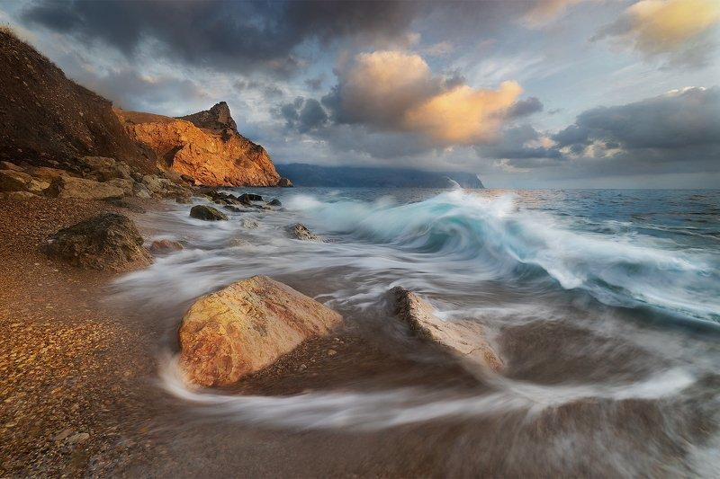 море, пляж, балаклава, зима, волна, пейзаж, крым \