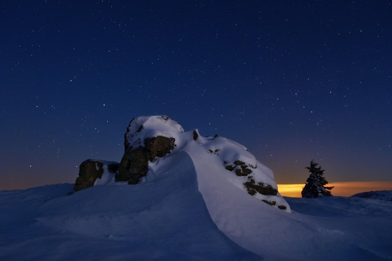 winter, snow, night, stars, czech republic, Winter country under the starsphoto preview
