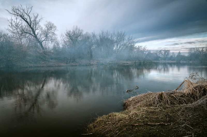 fog, morning, landscape, rive, winter, Morning moodphoto preview