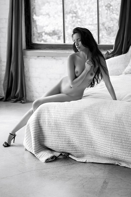 model, nude, naked, fine art, sexy, sensual, black and white, woman, female, body, legs, erotica, glamour, curves, natural light, beautiful, bedroom, fine nudes, Vivianephoto preview