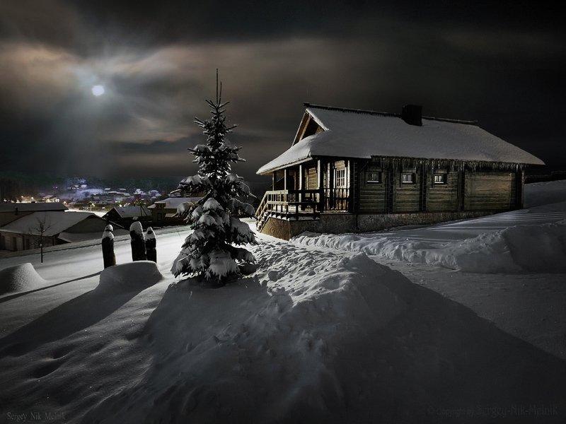 беларусь, звезды, зима, луна, мороз, ночь, снег, озерцо, логойск, дудутки, вечера-на-хуторе, фотограф-интерьеров-в-минске Избушка …без курьих ножекphoto preview