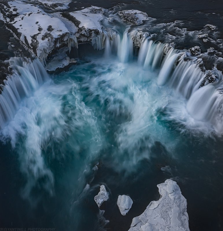 landscape, nature, travel, iceland, waterfall, water, winter, ice, snow, aerial, drone, daylight Godfoss at a God Viewphoto preview