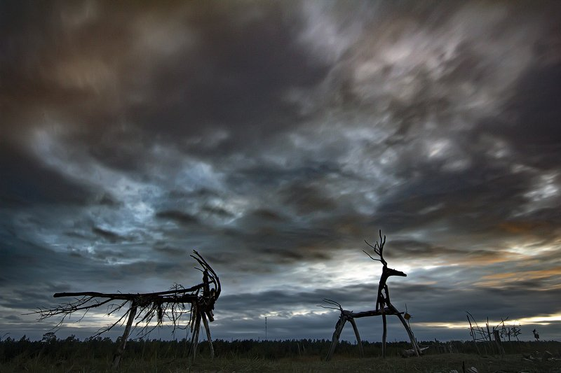 ночное фото, арт-объект, архангельская область, Белое море, Тайбола Фестиваль оконченphoto preview