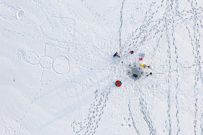 аэросъемка, владивосток, приморье, семья, лед, рыбалка, подледный лов, квадрокоптер, зима Когда всей семьей на рыбалке)photo preview