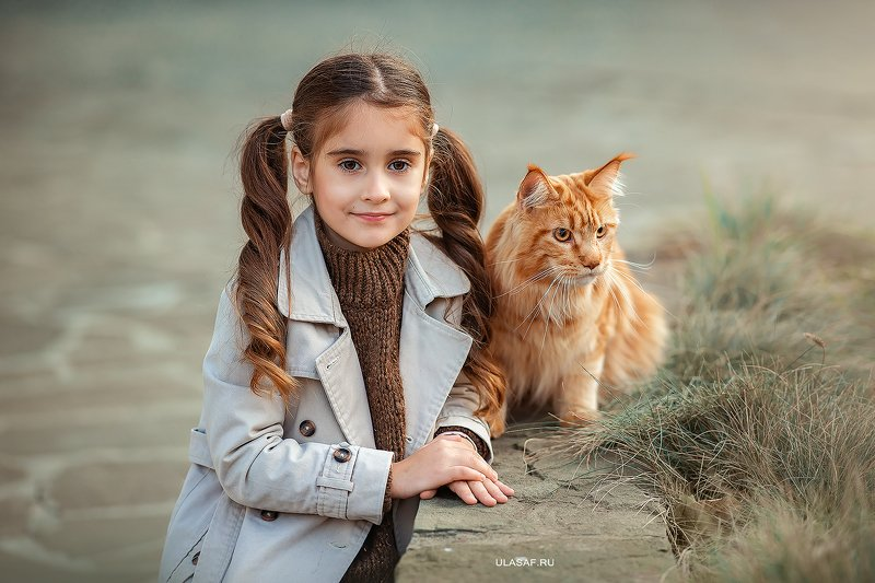 портрет, art, portrait, осень, sunset, закат, autumn, дети, девочка, girl, people, eyes, face, кот, мэйнкун, maine coon, рыжий, red, cat, волшебство, magik, happy, nikon, 105mm, kid, children,beautiful, love ***photo preview