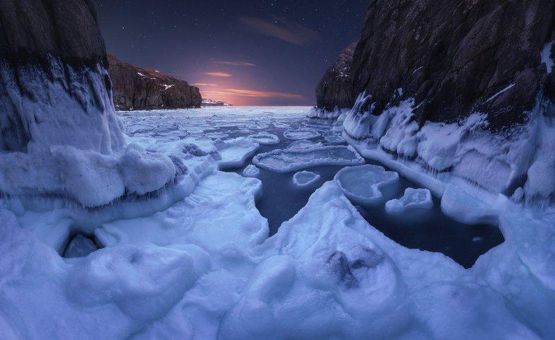 панорама, ночь, море, скалы, лёд, звёзды ***photo preview