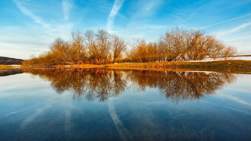 Spring, Весна, отражение, закатный свет, деревья, разлив The Springphoto preview