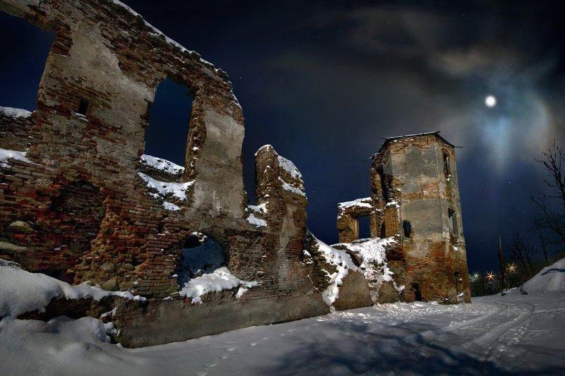 беларусь, звезды, зима, луна, мороз, ночь, снег, замок, гольшаны, вечера-на-хуторе Волшебная лунная ночь в Гольшанахphoto preview