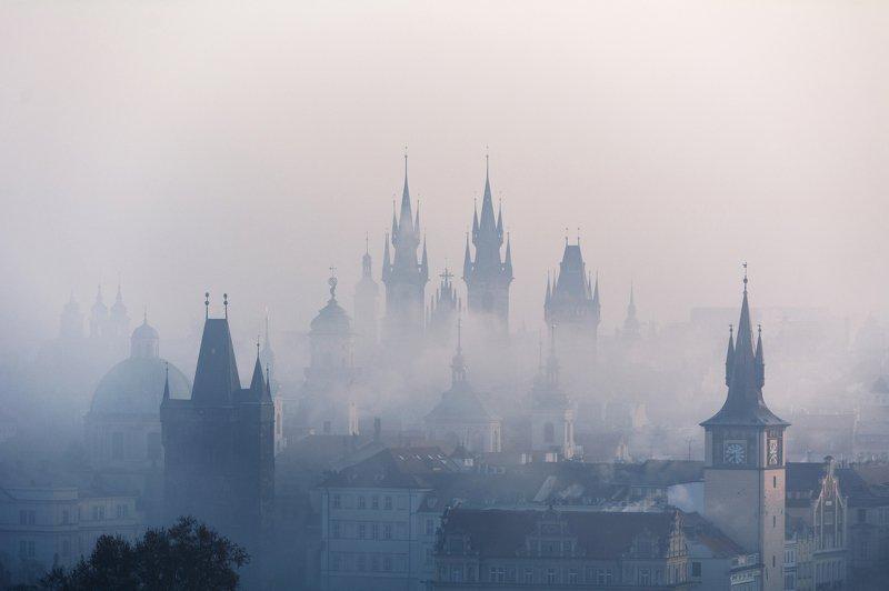 прага, рассвет, утро, город, башня, небо, облака, карлов мост, туман Прага в туманеphoto preview