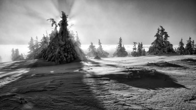 winter, snow, sunset, czech republic, When inversion disappearedphoto preview