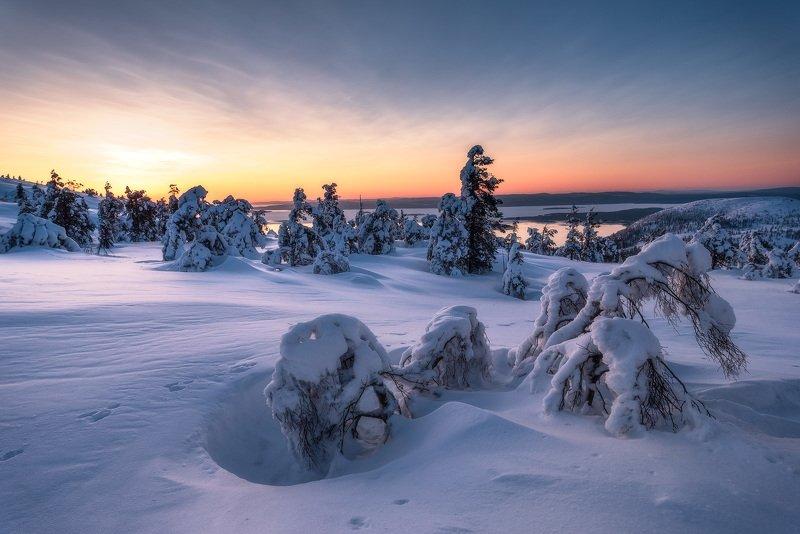 рассвет, кандалакша, зимний пейзаж, заполярье Притяжение зимыphoto preview