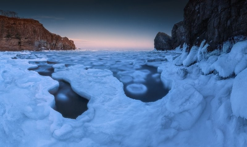 панорама, море, скалы, лёд ***photo preview