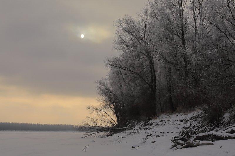 Зима  река изморось   зимним морозным днемphoto preview