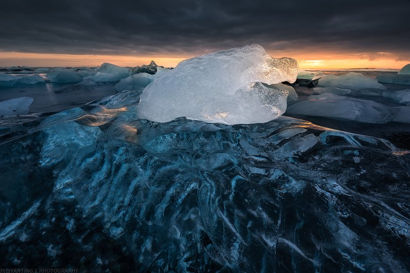 landscape, nature, travel, iceland, sea, water, wave, ice, ice cube, sunrise, sky Dream of Blue Icephoto preview