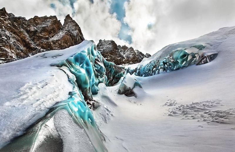 Горы, Кавказ, ледник Ледник под перевалом ВЦСПСphoto preview