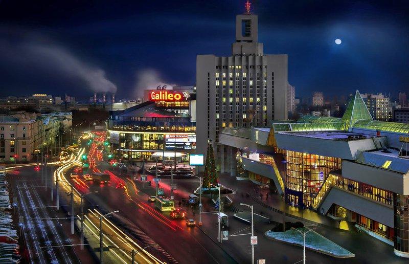 беларусь, город, минск, вечер, фотосфера-минск Городская панорама привокзальной площадиphoto preview