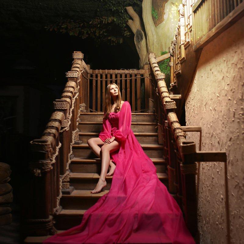 розовое платье, мотыльки, светлячки, девушка на лестнице, сказочный дом photo preview