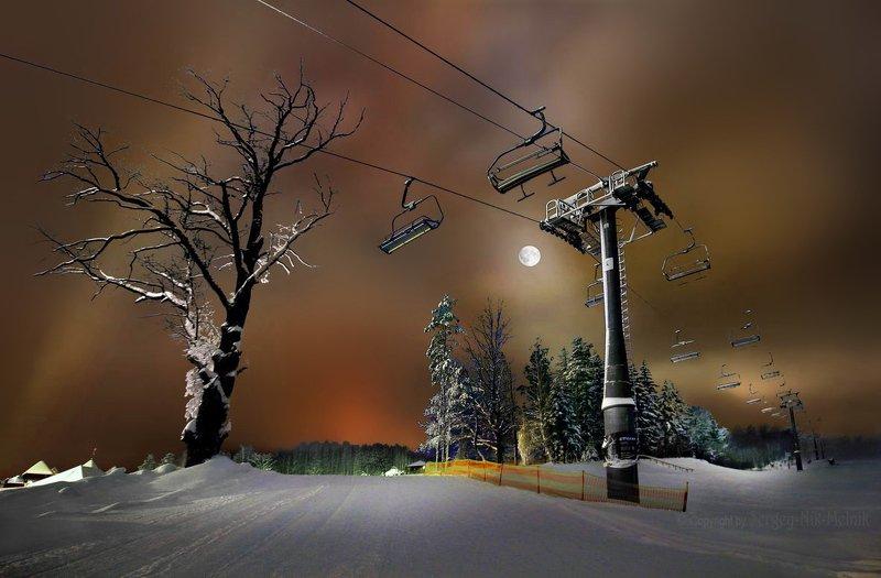 беларусь, звезды, зима, луна, мороз, ночь, снег, замок, гольшаны, вечера-на-хуторе, озерцо, логойск, дудутки Канатная дорога на …лунуphoto preview