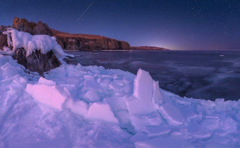 панорама, море, скалы, лёд, ночь, звёзды ***photo preview