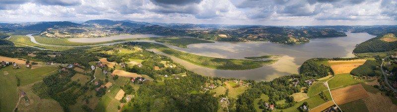 дронофото, европа, июль, лето, озеро, панорама, польша, река Jezioro Rożnowskiephoto preview