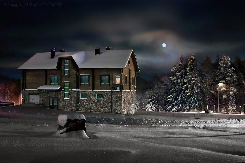 беларусь, звезды, зима, луна, мороз, ночь, снег, замок, гольшаны, вечера-на-хуторе, озерцо, логойск, дудутки Подлунный «Офис» деда морозаphoto preview