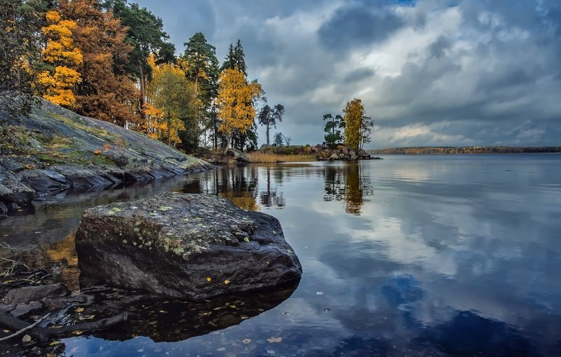 пейзаж,осень,озеро,парк,камни Тихое место.photo preview