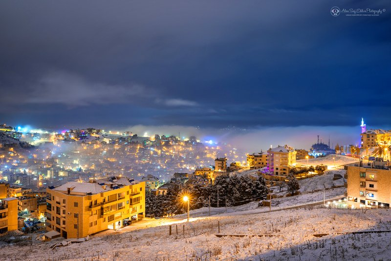 My home town covered by snow and fogphoto preview