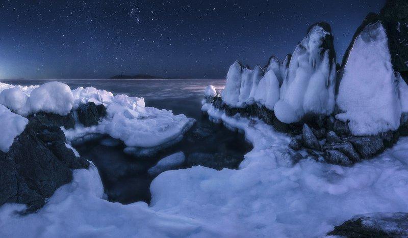 панорама, море, скалы, лёд, ночь ***photo preview
