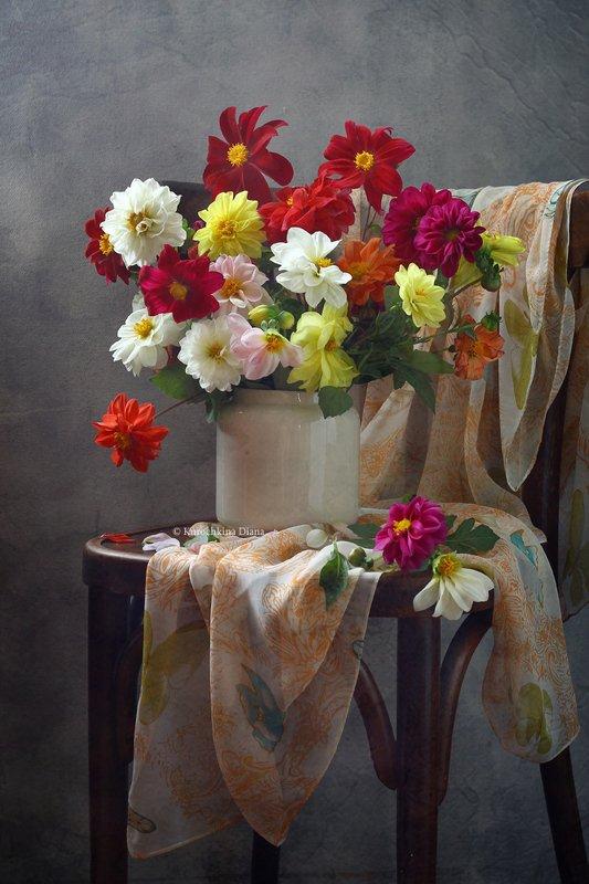 натюрморт, букет, цветы, георгины Георгиновый букетphoto preview