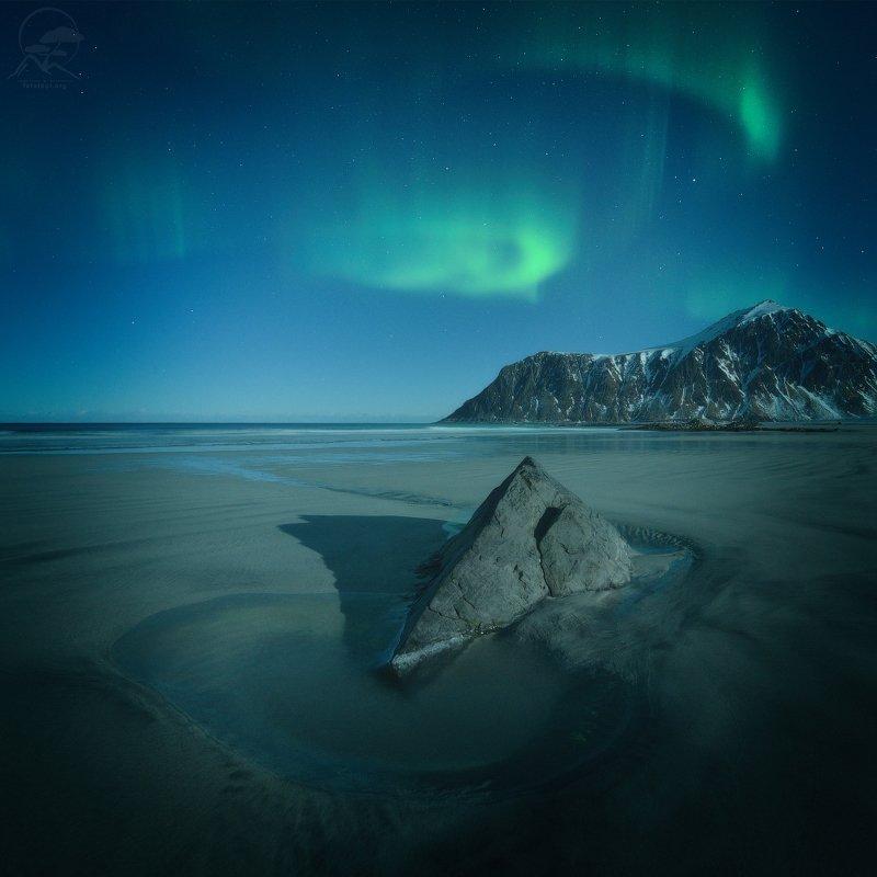 пейзаж, природа, море, норвегия, лофотены, сияние, skagsanden Skagsanden Beachphoto preview