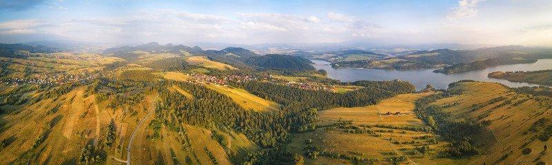 вечер, дронофото, европа, июль, лето, озеро, панорама, польша, река Чорштынские холмыphoto preview