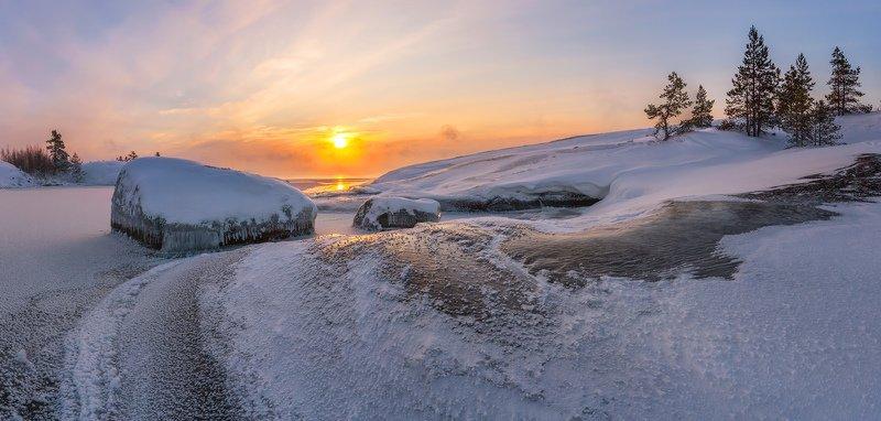 Зимняя Ладога, зима на Ладожских шхерах, Ладожское озеро зимой, Карелия \