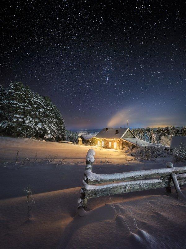зима, холод, изгородь, мороз, ночь Морозный вечер в деревнеphoto preview