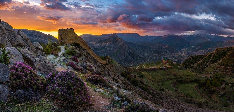 природа, пейзаж, горы, кавказ, природа россии, дикая природа, закат, свет, облака, вечер, весна, панорама *photo preview